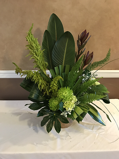 Green Aralia, Green & Variegated Aspidistra, Palm Fan, Foxtail, Bear Grass, Sword Fern, White Mist Boxwood