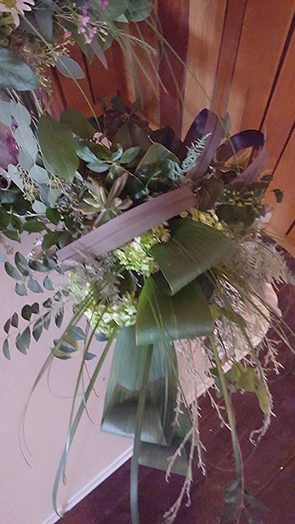 Purple Flax, Green Aspidistra, White Mist Plumosus, White Mist Carolina Sapphire, Bear Grass, Seeded Eucalyptus